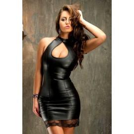 Mini šaty s krajkou a sexy výstřihem - černá, bílá