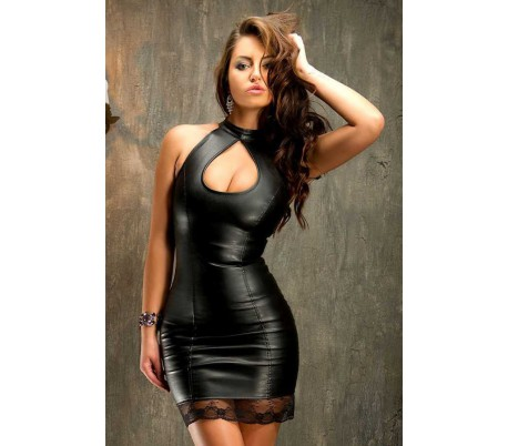 Sexy minišaty z umělé kůže s krajkou a sexy výstřihem - Extravagance ... 9d76128f00