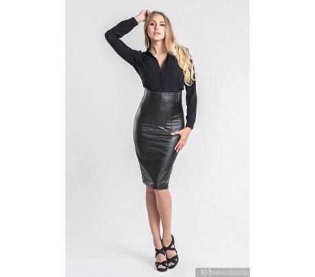 d7afaa10b88 Luxusní sukně z umělé kůže s vysokým pasem černá