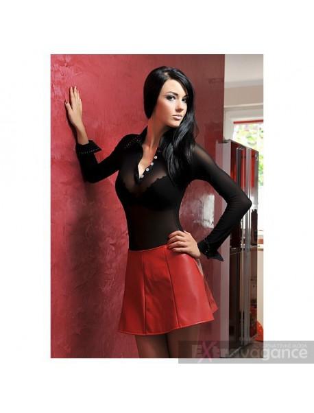 Krátká sukně červená - umělá kůže