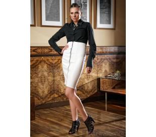 Luxusní sukně z umělé kůže s vysokým pasem