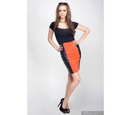 Elegantní sukně z umělé kůže se dvěma zipy černá