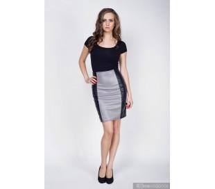 Sukně z umělé kůže černo-šedivá