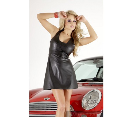 Mini šaty s hlubokým výstřihem trapézový střih
