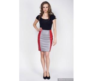 Sukně z umělé kůže červeno-šedivá