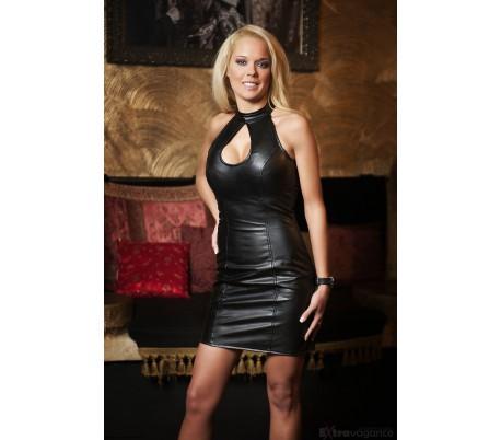 Sexy minišaty z umělé kůže 2009 černé