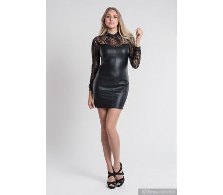 Sexy promo šaty z umělé kůže a krajky