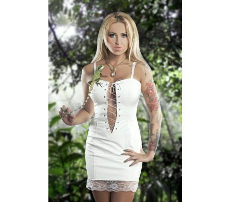 Šaty 20-02 bílé se šněrováním a krajkou