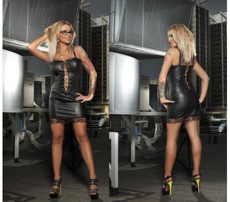 Šaty 20-02 černé se šněrováním a krajkou